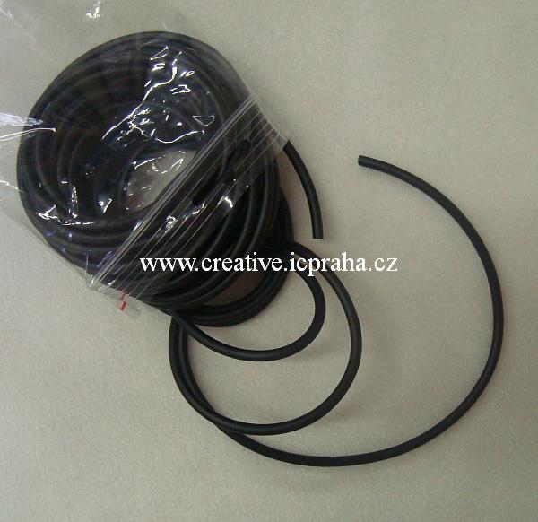 Bužírka dutá  4mm - černá 1m