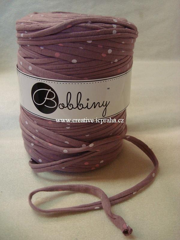 Bobbiny120m - fialová s puntíky