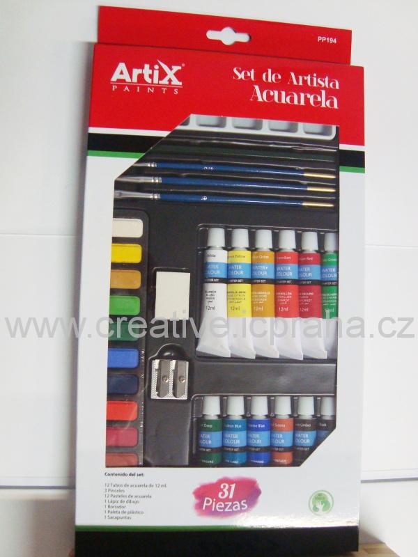 akvarelové barvy sada pro začátečníky 31ks