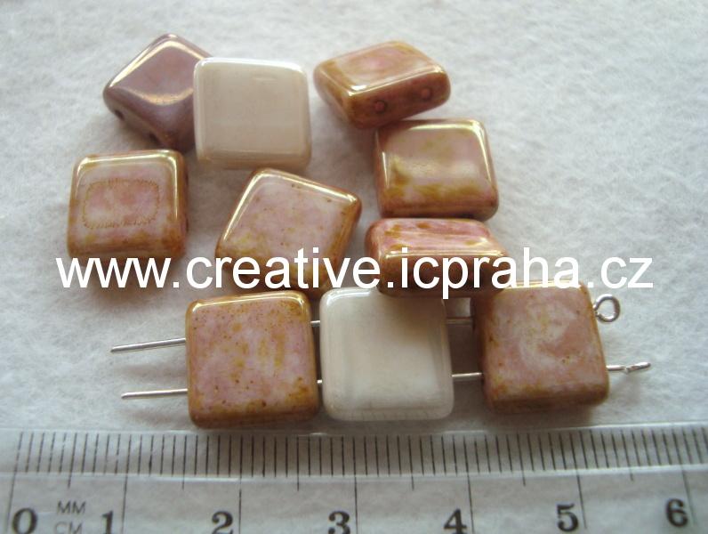 čtverečky dvoudírkové hnědobílé 12x12 bal.10ks