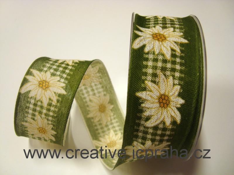 stuha-drátek-zelená/bílá ván.hvězda + kost. 40mm