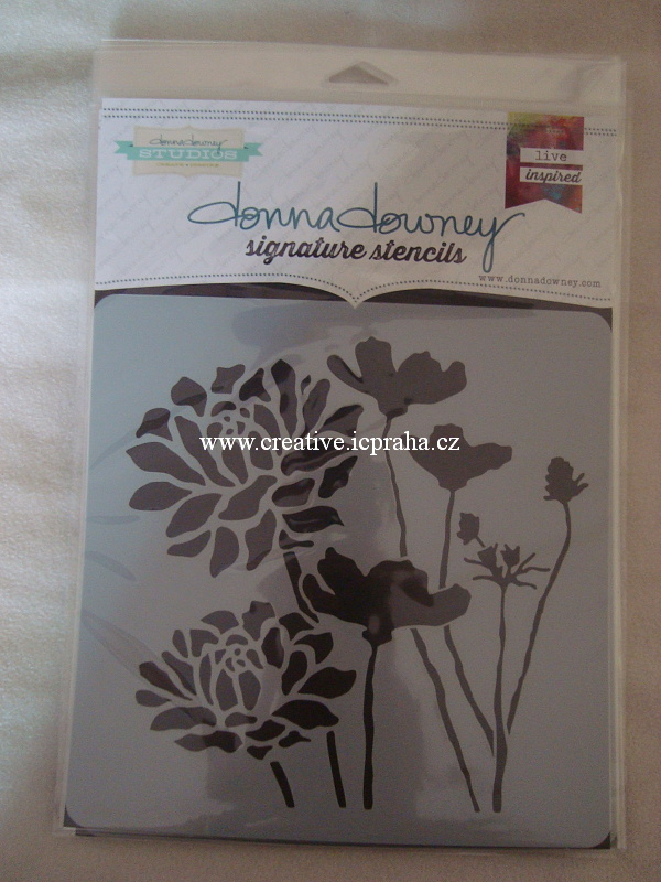 šablona plast 21x21cm - Květiny