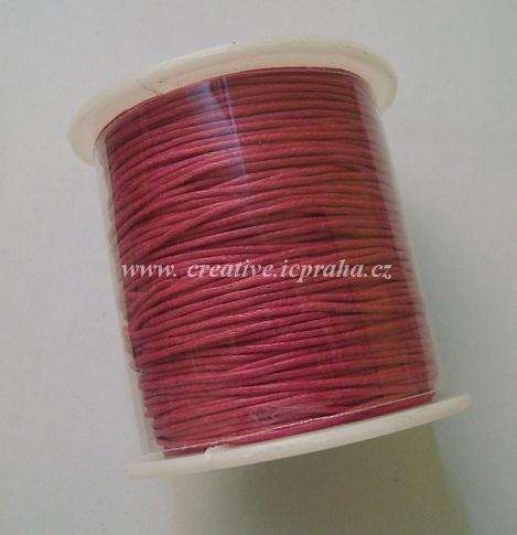 Povoskovaná šňůrka, růžová 1mm