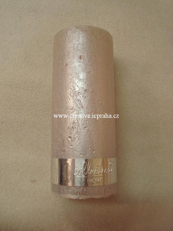 svíčka rustik s páskem - 5x12cm růžová