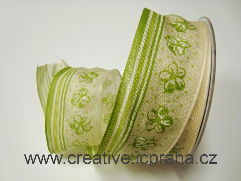 stuha-drátek-proužky+kytičky - natur/zelená 40mm