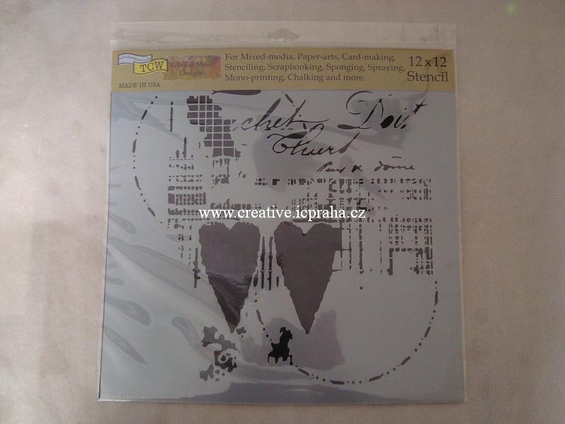 šablona plast TCW 30x30cm Two Hearts 771