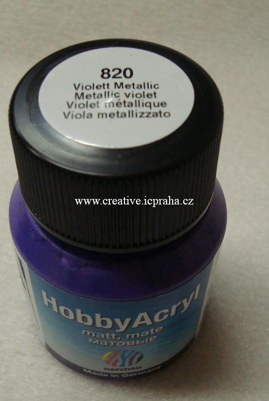 Hobby Acryl metalická 59ml fialová 820