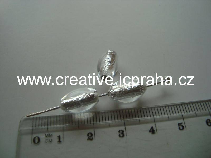 olivka čirá/stříbro 29016 12x8mm