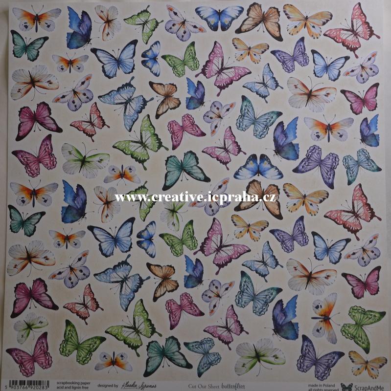 ScrapAndMe Motýli B -1 30.5x30.5cm 250g/m2