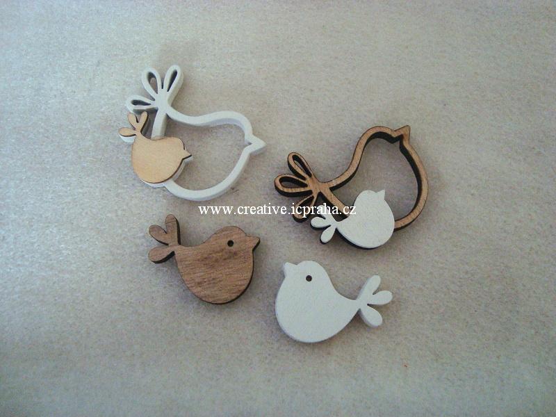 dřevo - ptáčci bílá/natur 2/4cm 2ks