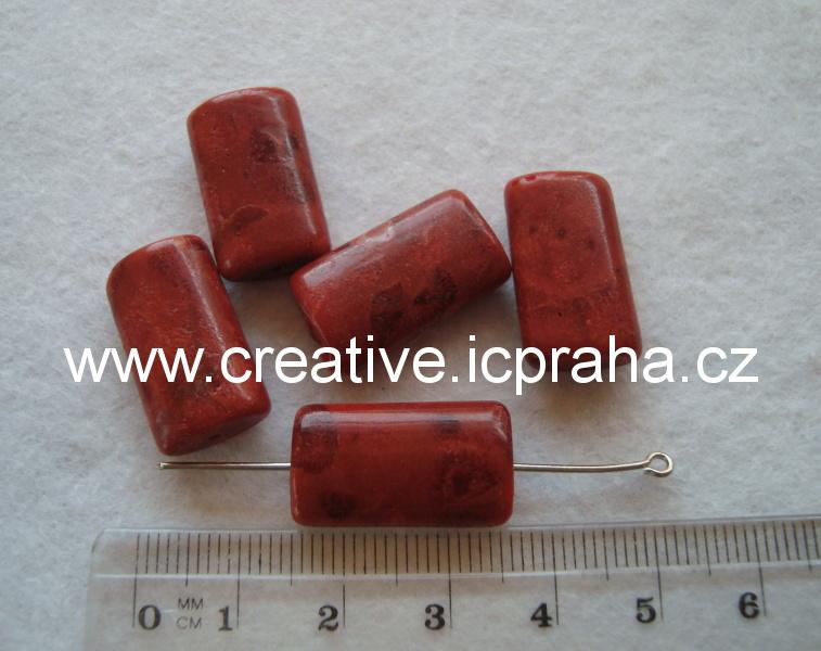 korál  houb.leštěný zaobl. kvádřík 20x12mm bal.5ks