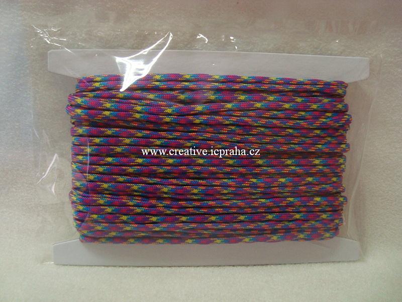 paracord 4mm fialová+růžová+modrá+žlutá