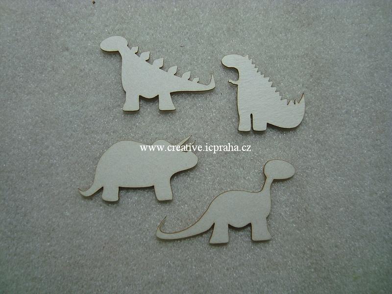 výřezy dinosauři 4ks 3-5cm