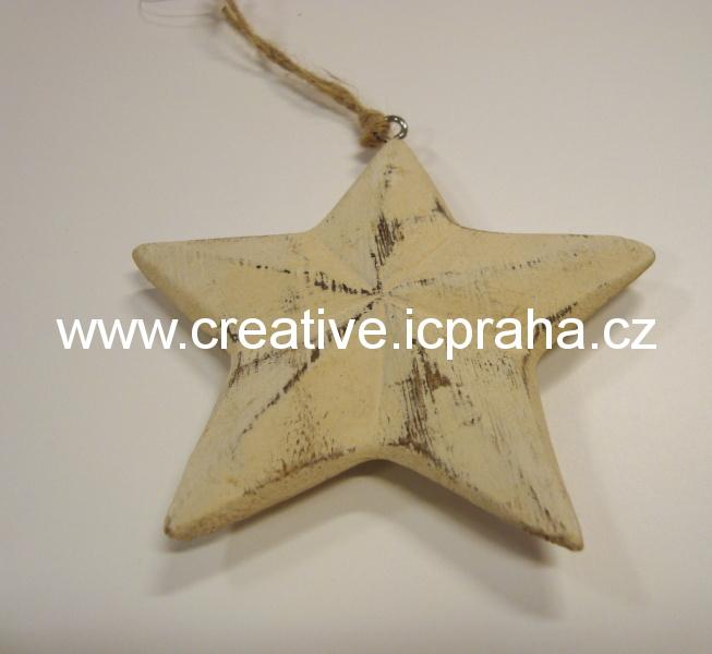 dřevěná hvězda 9 cm bílá