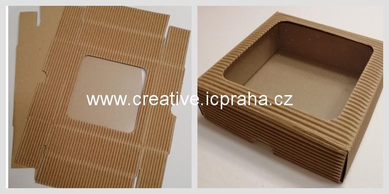 krabička s průhledem - 12x12x3,5cm kraft