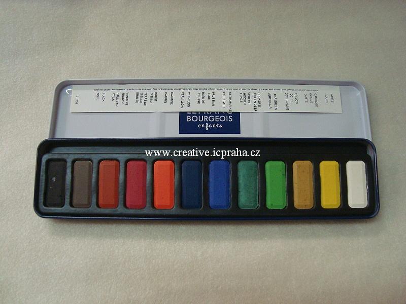 akvarel. barvy LEFRANC Bourgeois sada 12 v plechu