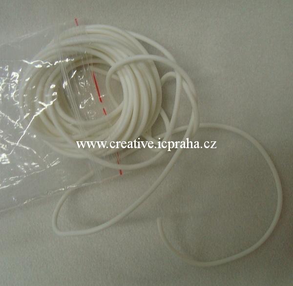 Bužírka dutá  3mm - bílá 1m