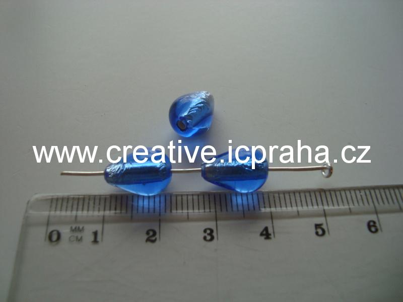 hruška modrá/stříbro 50016 12x8mm