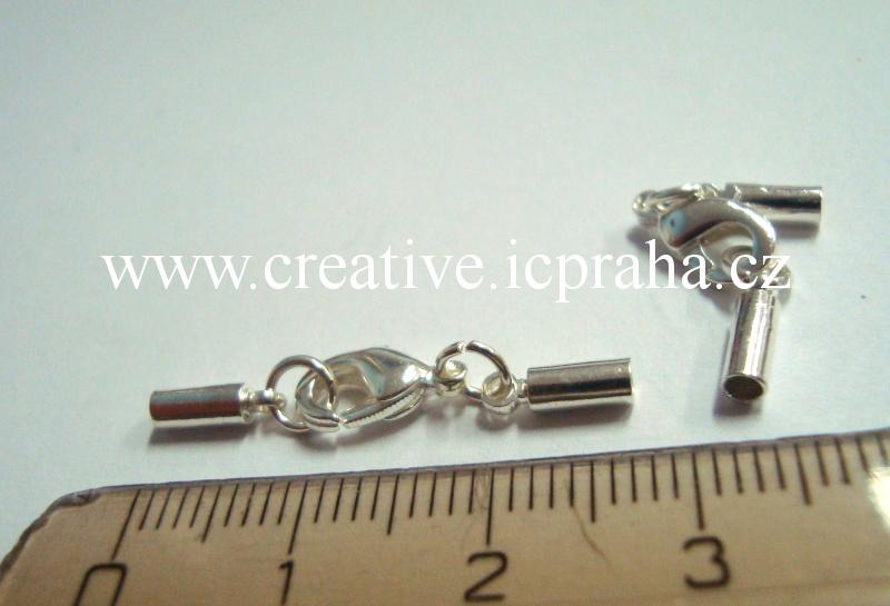 Karabina+kulaté koncovky pr.2mm platina