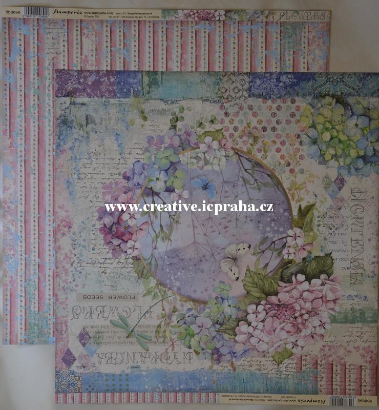 Stamperia - Hortenzie girlanda 30x30/190g/m2