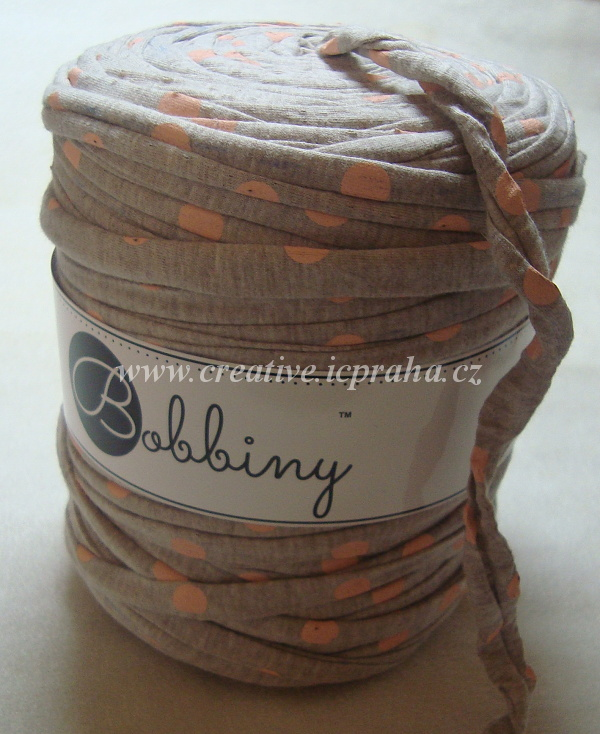Bobbiny120m - oříšková/puntíky oranž. 6434