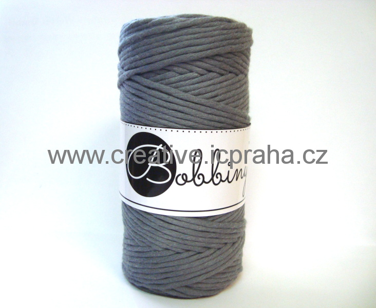 BobbinyMacrame Regular100m/3mm - šedá Ocel