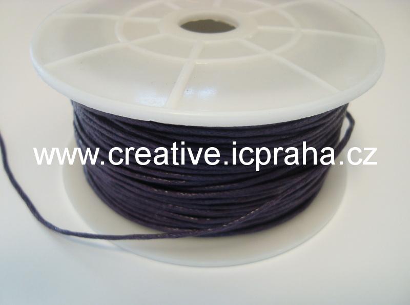 Povoskovaná šňůrka, fialová tmavá 1mm