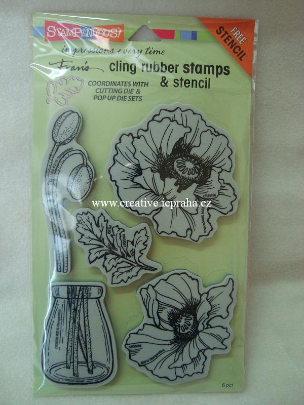 razítka Cling pro nože - Vlčí máky 5ks STMP5096