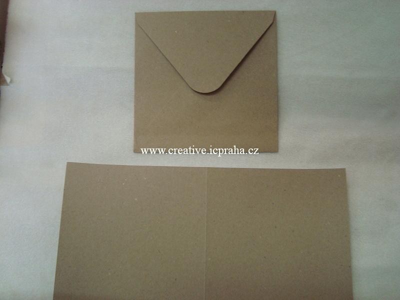 přání 15x15cm + obálka - kraft papír 240g/m2