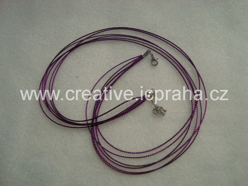 Komplet lurex.šňůrka+karabinka - fialová