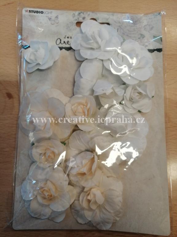kytičky růže - krémové 12ks PD151-06