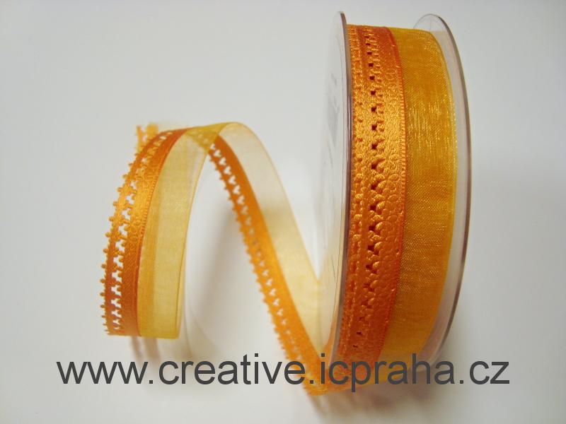 Stuha schiffon 25mm - oranžová s lemem