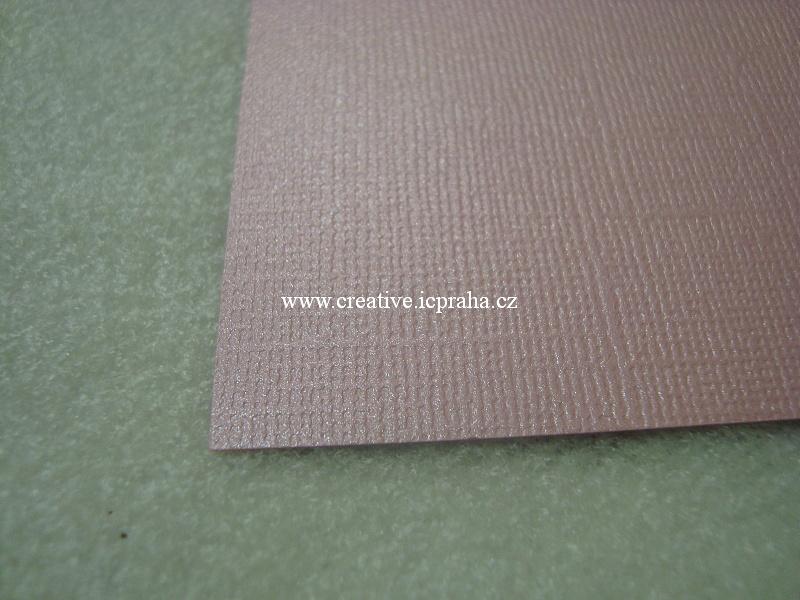 perleťový papír- struktura A4 220g/m2 - Růžová sv.