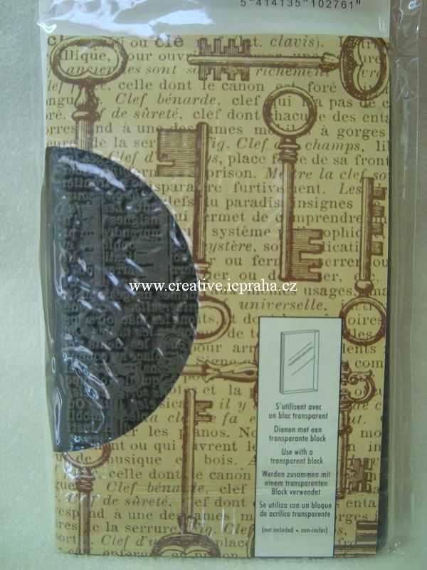 razítka Cling Artemio - Klíče a písmo 14,5x9,5cm