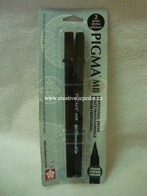 popisovač Pigma MB Medium Brush černý 2ks