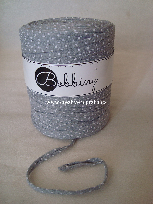 Bobbiny120m - šedá/ puntíčky bílé 1283