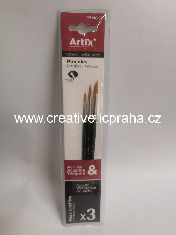 sada štětců Artix - syntetické - kulaté bal.3ks