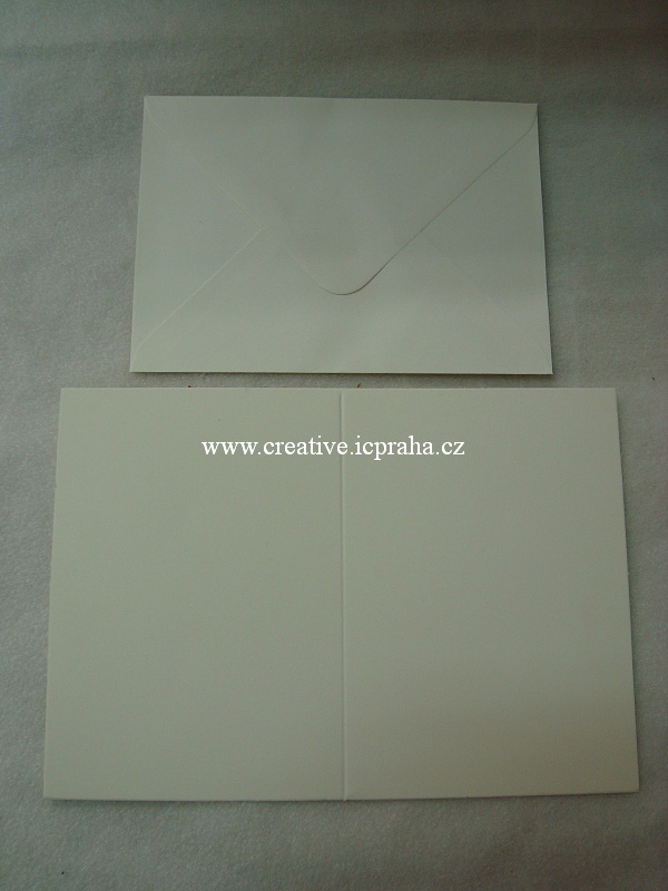 přání + obálka A6 - krém papír 300g/m2