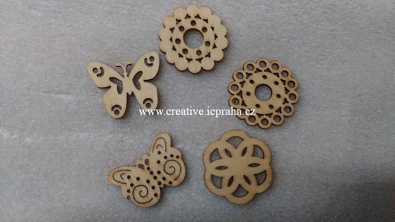 dřevěné dekorace Mix /motýlci 3cm/5ks