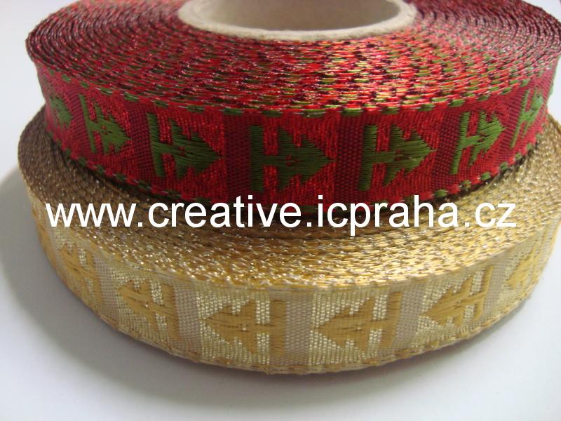 stuha-drátek-kostka 15mm - zlatá-strom 417204