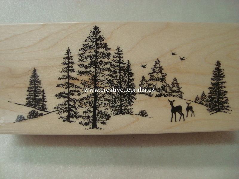 raz. dřevěné Hero Arts - Zimní krajina 12x5,5cm