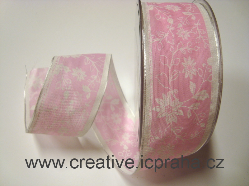stuha-drátek- růžová potisk 40mm