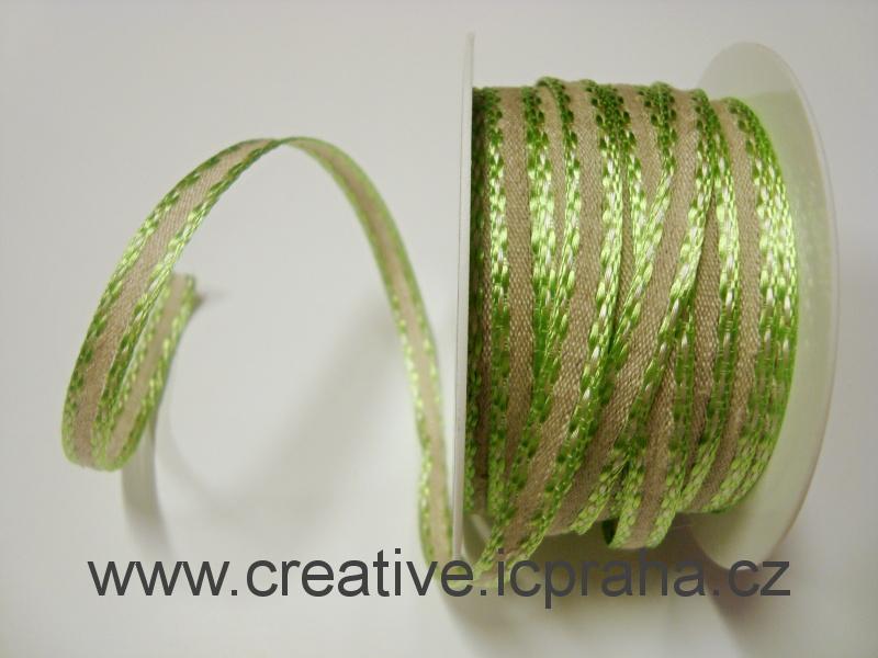 stuha-drátek-režná /zelený okraj 7mm