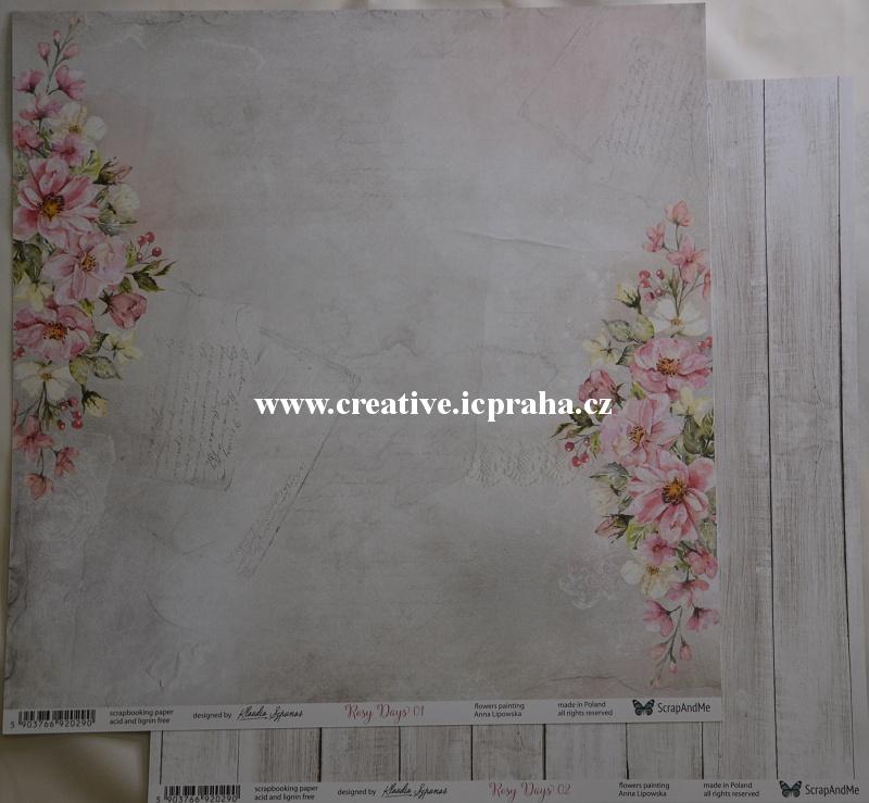 ScrapAndMe Rosy Days 01/02 30.5x30.5cm 250g/m2
