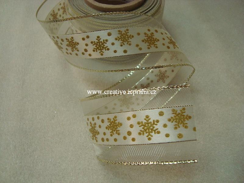 Stuha-drátek monofil 40mm zlatá proužek vločka