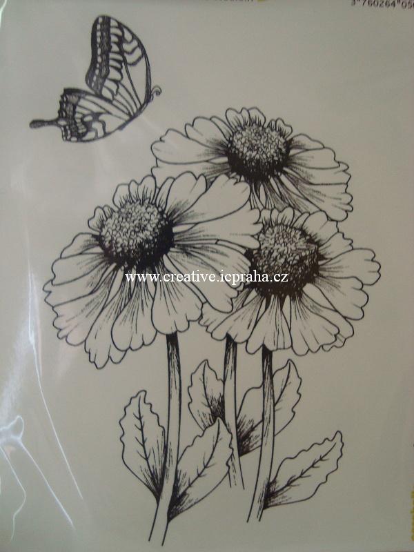 razítka Cling Carabelle S.- Kytky a motýl 2ks
