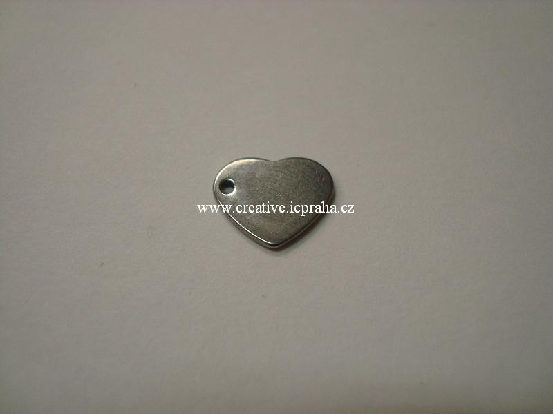 přívěšek Srdíčko 10x11x0,8mm ocel