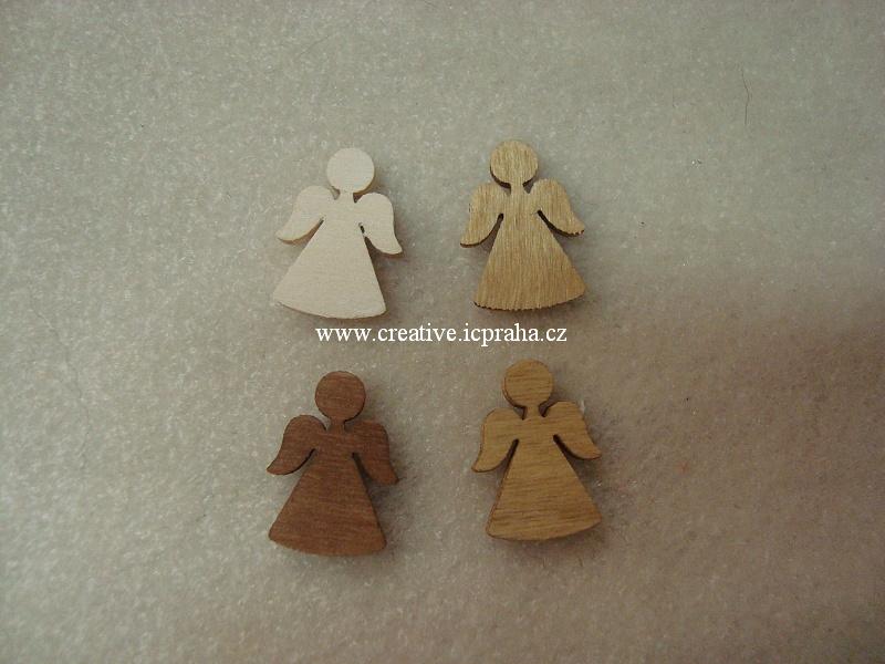 dřevo - anděl mix 2cm bal.4ks A3840