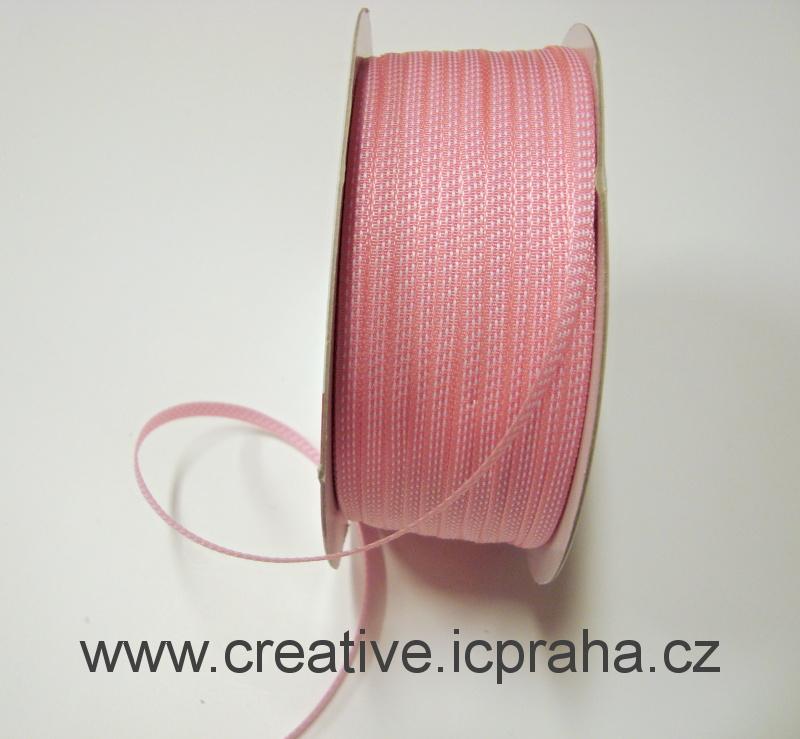 stuha 4mm růžová+bílá