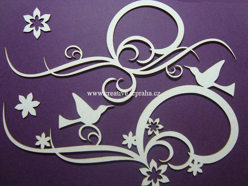 výřezy ornamenty/bordury s kolibříkem 5ks+ 1-17cm
